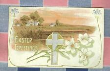 Old Postcard 1910 Kna?? Wis Easter Greetings Cross Farm Scene