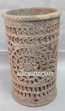 Marble Flower Vase Decorative Indian Handmade Beautiful Art Creative Work H4174
