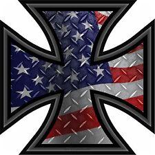 "ProSticker 768 (One) 5"" Rat Rod Iron Cross Decal Sticker American Flag Parts"