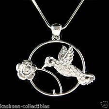 w Swarovski Crystal Hummingbird Bird Flower Floral Circle Round Pendant Necklace