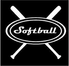 White Vinyl Decal - Softball bats sports team ball sticker fun truck