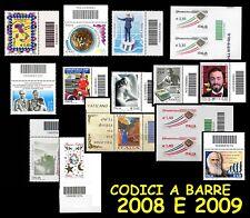 ITALIA 2008 e 2009 Francobolli con Codice a Barre MNH * Integri perfetti !