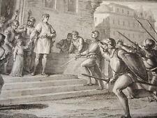 GRAVURE XVIIIe / LOUIS D'OUTREMER PREND LA TUTELLE DU JEUNE RICHARD AN 943