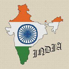 """Mappa dell' India e bandiera Cross Stitch Design (15x15cm, 6x6 """", kit o grafico, 14hpi)"""