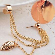 Ear Clip Leaf Chain Tassel Ear Cuff Wrap Gold Silver Plated Dangle Earrings