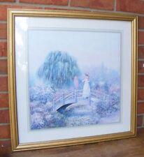 Vtg Home Interiors Homco Sambataro Lady Hat Parosol Bridge Floral Print Picture