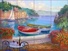 Mediterranean Tile Backsplash Senkarik Portofino Boat Art Ceramic Mural MSA122