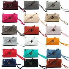 Women Clutch Bag Multi Compartment Pocket Cross Body Purse With Wrist Long Strap