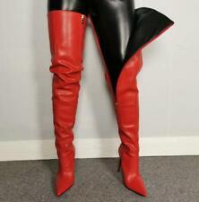 Women Real Leather Overknee Thigh  Boots Stiletto  Heel Nightclub Pointed 35-47