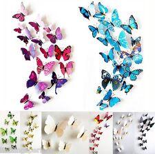 3D Schmetterlinge 12er Set Wanddekoration Wandtattoo Wandsticker M7345