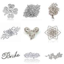 Luxury Bridal Wedding Prom Corsage White Flower Brooch Pin Big Medium Small Size