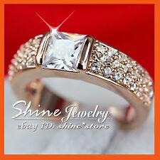 18K ROSE GOLD GF R238 SQUARE LAB DIAMONDS WEDDING ANNIVERSARY LADIES SOLID RINGS
