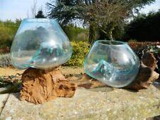 Melted Glass on Wood Bowl Vase Tealight Holder Terrarium Trinket Bowl S Assorted