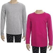 John Lewis Girls Long Sleeve T-Shirt Top - Grey Marl / Pink Sizes 2-12 Brand New