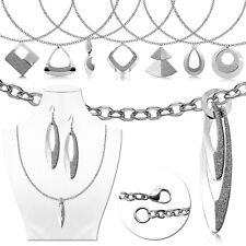 Cadena Largo Collar + Pendientes Cuelgan Aretes Colgantes Mujer Brillante Plata