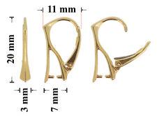 Sterling Silber 925 Ohrhaken Gold Überzogen Klapp-Brisuren 20mm * Schmuckteile