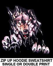 WILD WOLF TEARING SHIRT WEREWOLF WOLFMAN BIKER LYCAN ZIP HOODIE SWEATSHIRT XT1