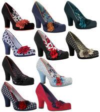 Nouveau Ruby Shoo Eva Cour Chaussures Noir Bleu Marine Sable Rouge Noir Essence/bleu ciel UK3-9