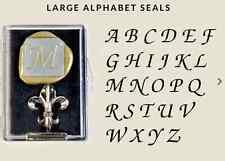 """Classic Monogram/Initial Wax Seal Stamp (1"""" diameter metal seal, handle) - New"""