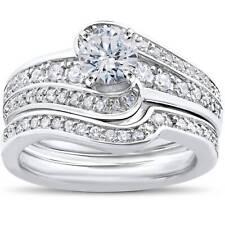 1 ct Diamond Round Solitaire Engagement Ring Wedding Band Set 14k White Gold Set