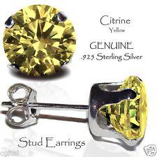 Men's or Lady's Citrine CZ Sterling Silver Stud Earrings - NOVEMBER Birthstone