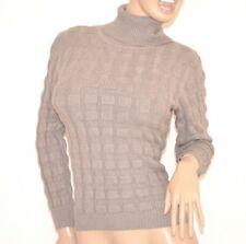 Maillot beige tourterelle femme manches longues col haut pullover underjacket Z5