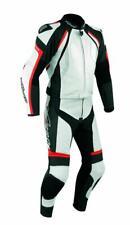 Combinaison Cuir Blouson Pantalon 2 pc. Moto Motard Racing Protections CE Red