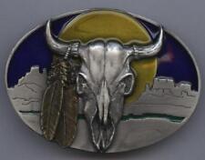 Buckle Büffel Buffalo Gürtelschnalle Indianer Longhorn Western Feder