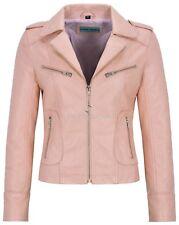 Ladies's Real Leather Jacket Baby Pink Napa Biker Motorcycle Short Style 9823
