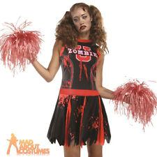 Adult Undead Cheerleader Costume Zombie Halloween Horror Ladies Fancy Dress New