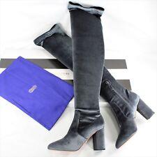 4f6f7c8f0a3 Aquazzura So Me 85 Sage Grey Stretch Velvet Over The Knee Boots  995