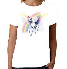 Velocitee Donna Pegasus Cavallo T-SHIRT Rainbow PONY ALATA FASHION COOL w9986