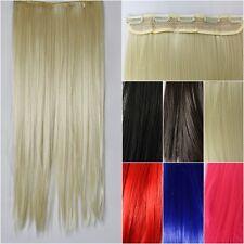 Clip in Extension seidig glatt lang Haarverlängerung 6 Farben Extensions 60 cm