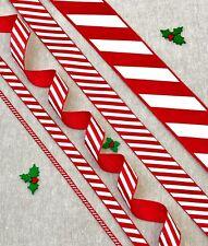"""Red & White Candy Stripe Ribbon - 1/8"""" 3/8"""" 5/8"""" 1"""" 1 1/2"""" - 1/3m/5m"""