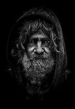 "Silver Metallic Photograph Art Decor ""Old Man"" Wall Picture Decor Portrait"