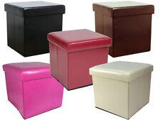 Ottoman Pliable Boîte De Rangement Pouffe Tabouret Siège Pop Up Cube en cuir synthétique