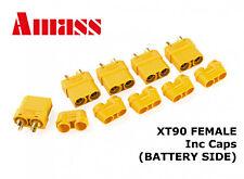 AMASS XT90+ FEMALE Connectors/Plugs (BATTERY SIDE) - XT90H inc Caps - GENUINE