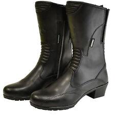 Oxford Savannah Ladies Motorcycle Motorbike Leather Waterproof Boots Black - T