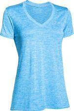 NWT ~ Under Armour Womens Twist Tech V-Neck T-Shirt ~Jazz Blue~ NEW!   XS
