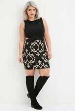 Forever 21+ Plus Size Black  Metallic Ornate-Patterned Bodycon Skirt XL/1X/2X/3X