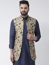 Designer Mens Loose Fit Blazer Indian Ethnic Wear Nehru Jacket Printed Waistcoat