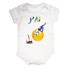 Body bébé smiley anniversaire 1 an 12 mois humour personnalisé prénom réf 72