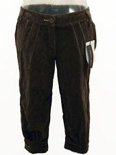 Pantaloni Capri donna OCCHI NERI Tg. M Marrone Velluto Made in Italy New