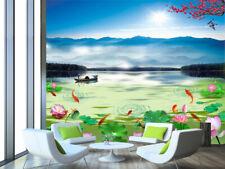 3D Lago, barche   Parete Murale Foto Carta da parati immagine sfondo muro stampa