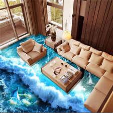 Dophin Swimming Ocean Wa 3D Floor Mural Photo Flooring Wallpaper Home Wall Decal