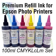6 x 100ml Qualità Premium inchiostro a base dye BOTTIGLIA ricariche per stampanti EPSON PHOTO