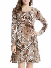 Karen Kane 4L74103 Brown Snake Print Stretch Jersey A Line Dress - MSRP $109