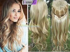 Machine weft cap half wig 100%Virgin Human Hair Wavy/Body wave 3/4 Half Wig