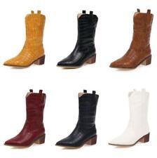 Women Western Block Heel Biker Cowboy Goth Pointed Mid Calf Boots Big Size 34-47