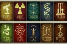 "Einstein Nikola Tesla Faraday chemistry physics infographics Poster 36x24 40x27"""